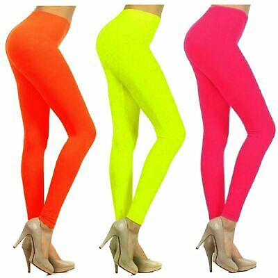 Ladies Bright Neon Colour Skinny Dance Wear Pants Leggings 8-22