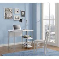 Small Desk Office Computer Study Dorm Monitor Chair Printer Metal Glass Homework