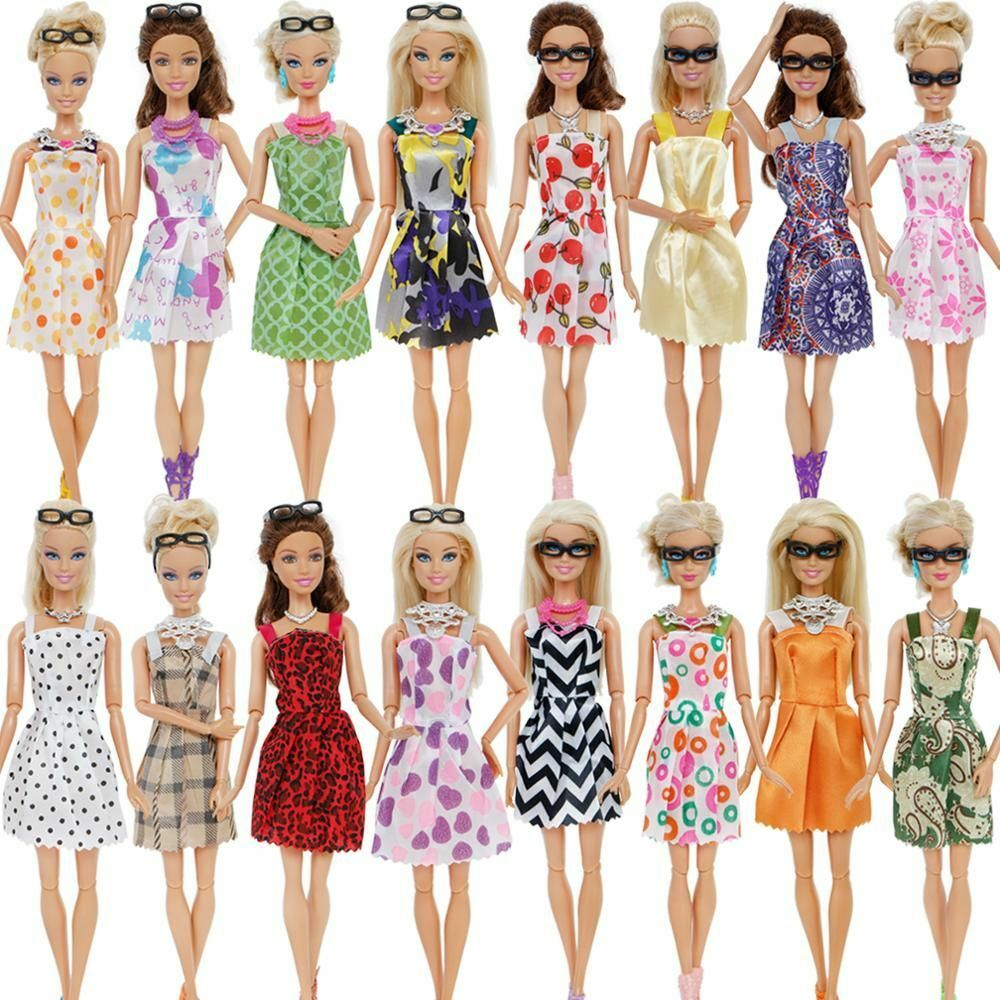 10x Mix Cute Dresses AMETUS 32 PCS Doll Accessories 4X Glasses 10x Shoes 6X