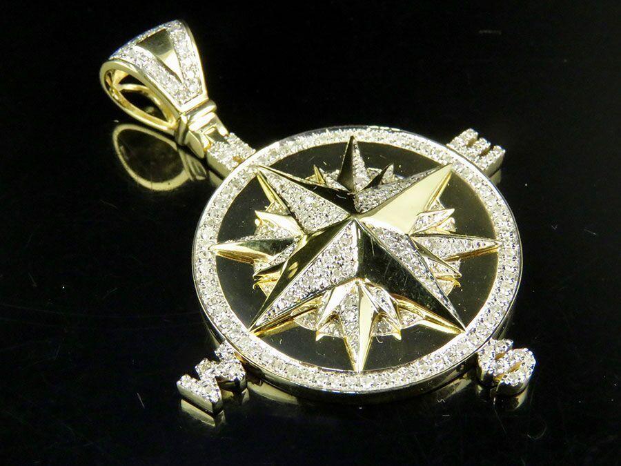 Men's Real 10K Yellow gold Genuine Diamond Compass Pendant Charm 1 Ct 2