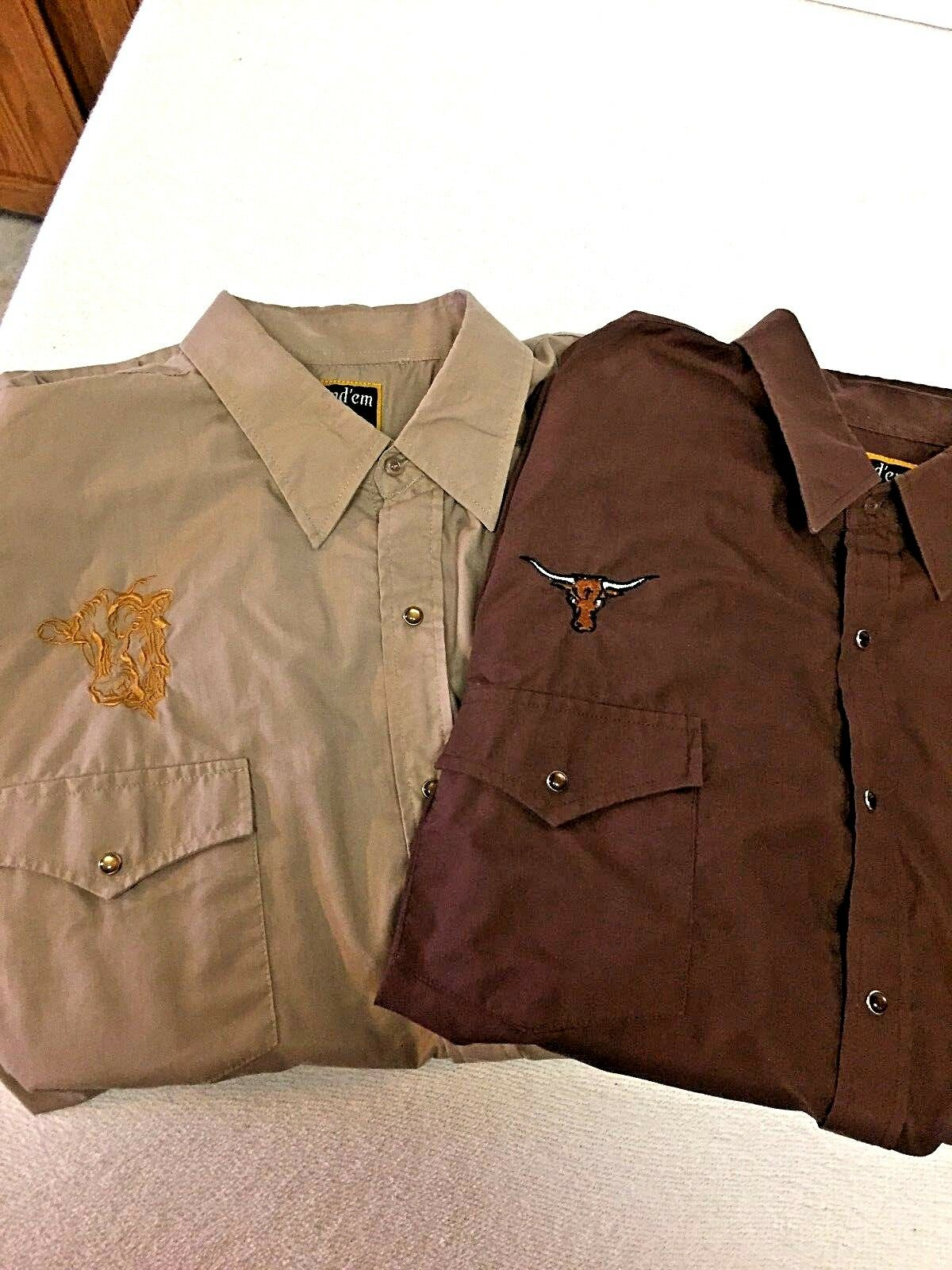 Round Em Western Gear Men's 2 Shirts Pearl Snaps Steers Men's size  L