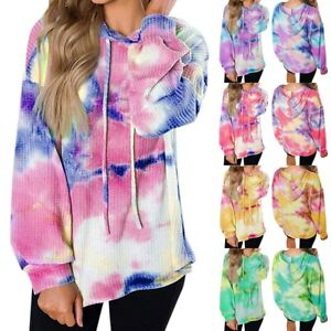 Women-Long-Sleeve-Hoodies-Sweatshirt-Pullover-Ladies-Casual-Tie-Dye-Jumper-Tops