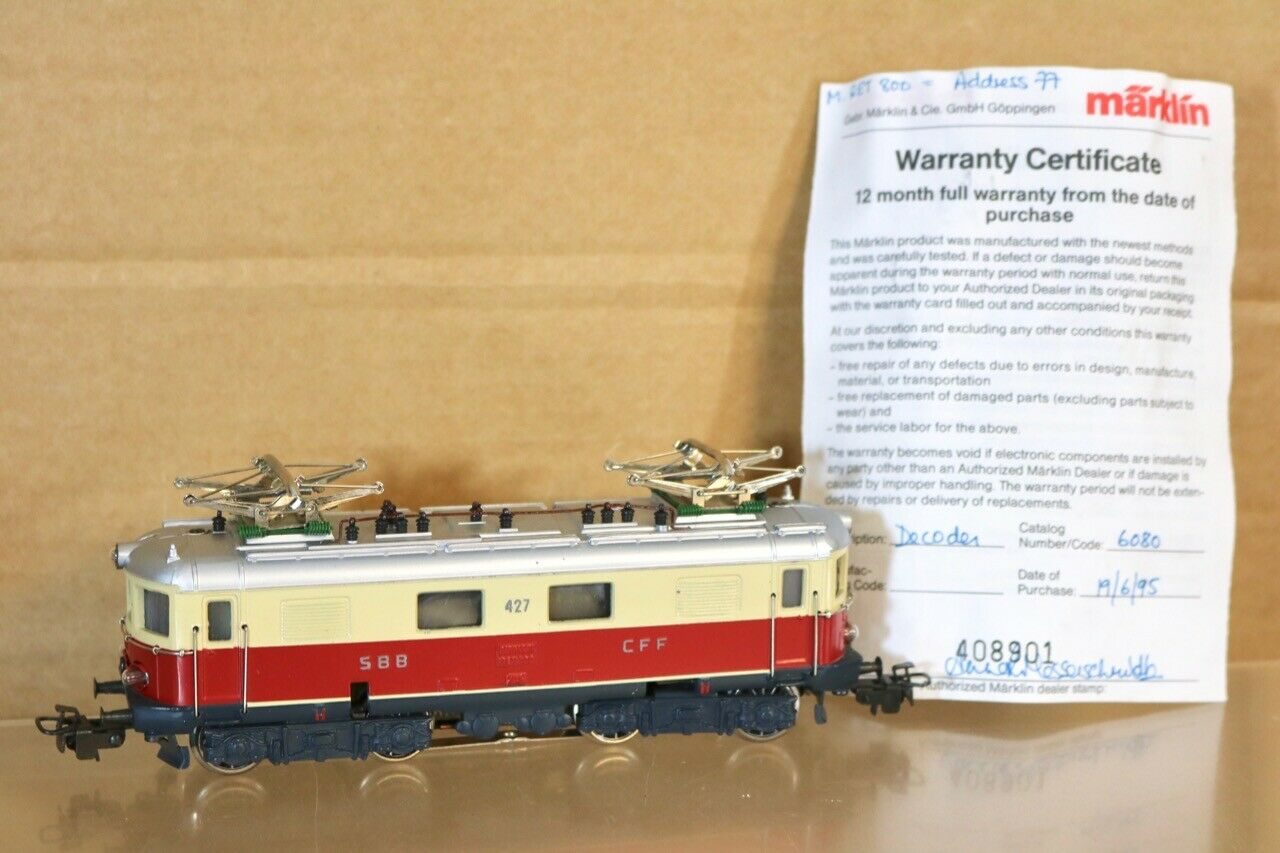 MARKLIN 3014 MINREX SCHWEIGER SBB CFF RED CREAM RET 800 Re 4 4 E-LOK LOCO 427