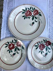 Grande assiette PLAT et 2 assiettes LUNEVILLE Rose Mai peint main