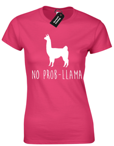 NO PROBLLAMA LADIES T SHIRT SLOGAN NOVELTY LLAMA ANIMAL HIPSTER FASHION BLOGGER