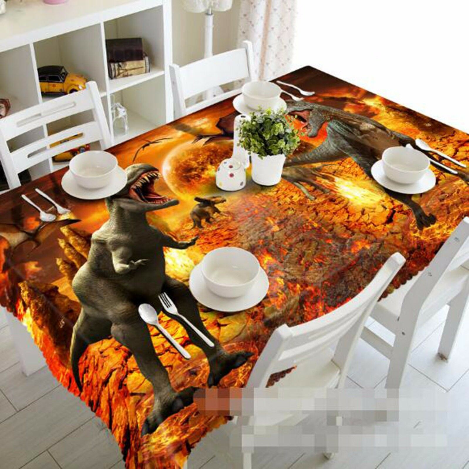 3D Dinosaur 5 Tablecloth Table Cover Cloth Birthday Party AJ WALLPAPER UK Lemon