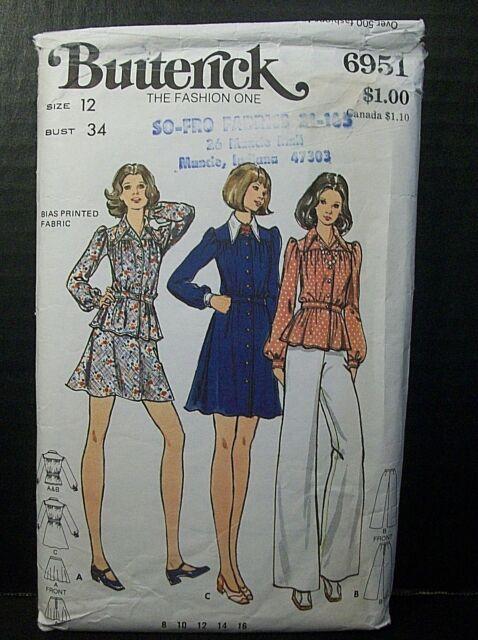 57ec12e8b92d1 Butterick Pattern 6951 Misses Size 12 Bust 34 Dress Tunic Pants Skirt Cut  1970's