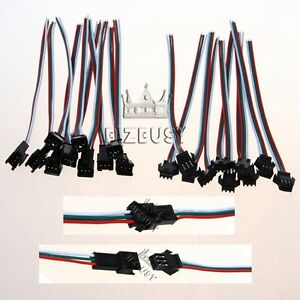 1-20Pairs-3PIN-JST-Female-to-Male-Connector-Cable-Wire-For-RGB-LED-Pixel-Strip