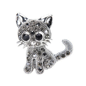 W-amp-T-Little-Cat-Brooches-Pin-Antique-Silver-Plated-Coat-Shirt-Clips-Fashion-r