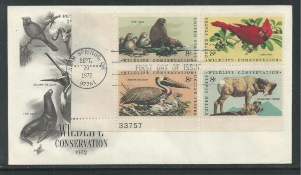 # 1464-1467 WILDLIFE CONSERVATION 1972 ArtCraft First Day Cover Plate Block (1)