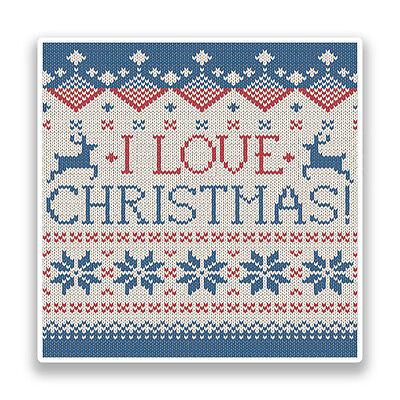 2 X I Love Christmas Vinyl Stickers Fairisle Knitted #7168