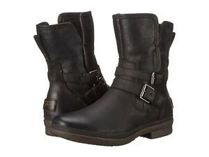 UGG-AUSTRALIA-SIMMENS-BLACK-LEATHER-BIKER-ANKLE-BOOTS-UK-4-5-EUR-37-USA-6-150