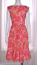 Vintage 1960 White Pink Orange Paisley Day Rockabilly Dress Medium M Pin-Up 60s