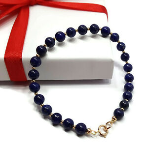 Image Is Loading 9ct Yellow Gold Bracelet With Blue Lapis Lazuli