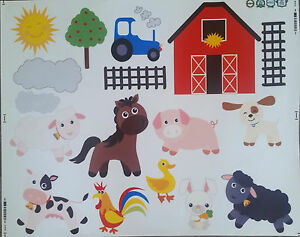 wandtattoo kinderzimmer xxl 130x75cm bauernhof farm s sse tiere zoo wandsticker ebay. Black Bedroom Furniture Sets. Home Design Ideas