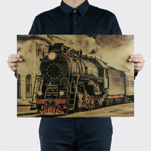 Vintage-Steam-Train-Nostalgic-Vintage-Kraft-Paper-Posters-Decorations-Wall-039-Stick
