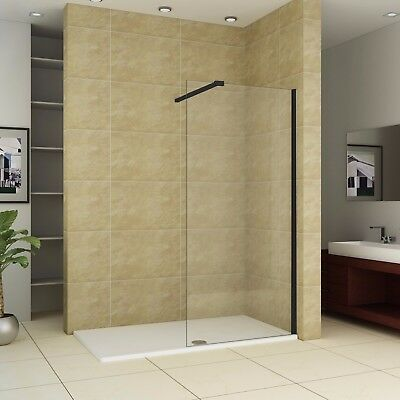 Black Walk In Shower Enclosure Wet Room Screen Easy Clean Glass Cubicle + Tray