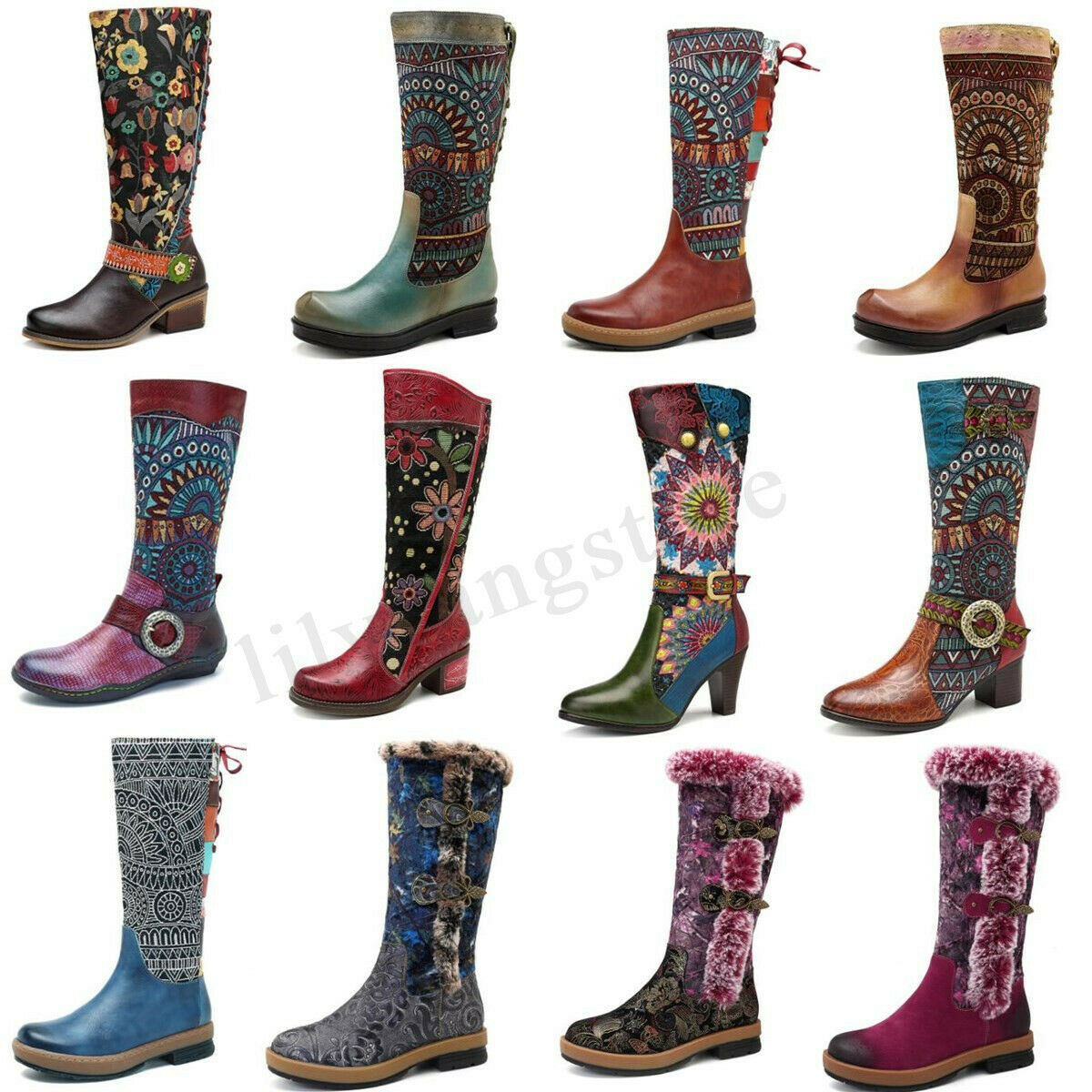 SOCOFY Women Retro Knee High Boots Splicing Jacquard Fur Causal Lace up Zip