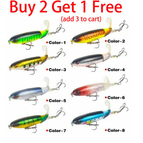 Whopper Plopper Topwater Floating Fishing Lures Rotating Tail Bass Steel Hook US