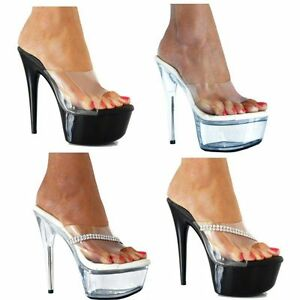 a3886780c4f Stiletto High Heel Platform Sexy 04 Clear Platform Mules Shoes Size ...