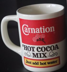 Carnation Hot Cocoa Mix Mug Vintage Nestle Memorabilia Red White