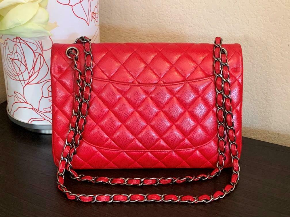 Authentic Chanel Classic Jumbo Red Caviar Double … - image 3