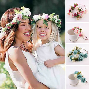 Mom And Kids Wedding Flower Hair Garland Crown Headband Floral ... 54a5074de0b