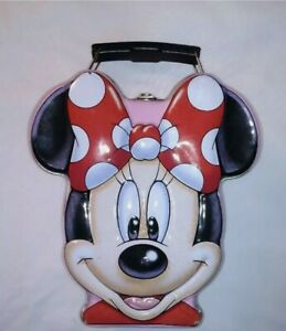 Vintage-Disney-Minnie-Mouse-Head-Metal-Tin-Lunch-Box-Multi-Color-Collectible