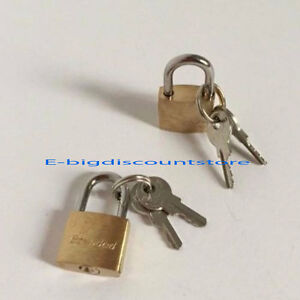 2Small Metal Padlock Mini Brass Tiny Box Lock Jewelry 2 Keys