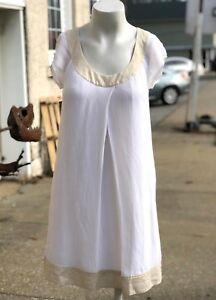 Diane-Von-Furstenberg-DVF-Cream-Silk-Viscose-Blend-Womens-Shift-Sun-Dress-Size-2
