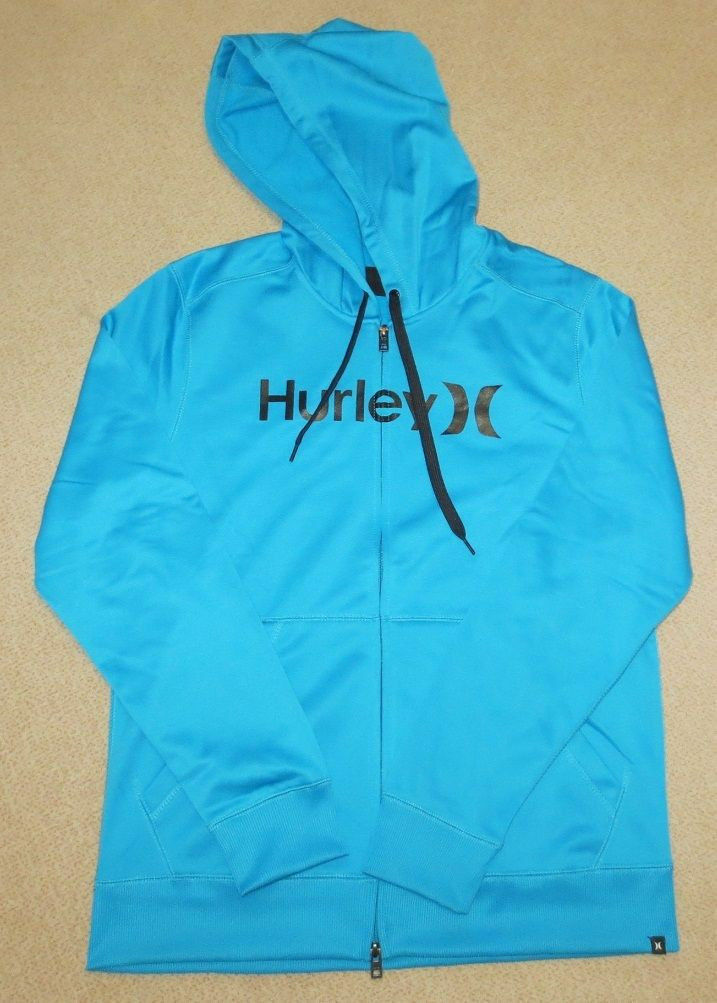 HURLEY Performance Face Off SNOW Zip Hoodie Gr. M NEU cyan Atmungsaktiv Zipper