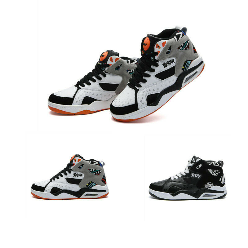 new product 425ae 03b2c Men Splice color Outdoor High Top Basketball Lace Up Athletic Flat Sneaker  shoes