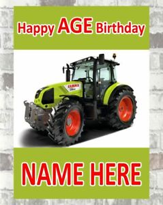 Personalised ANY NAME Tractor 3rd Birthday Banner x 2 Party Decorations