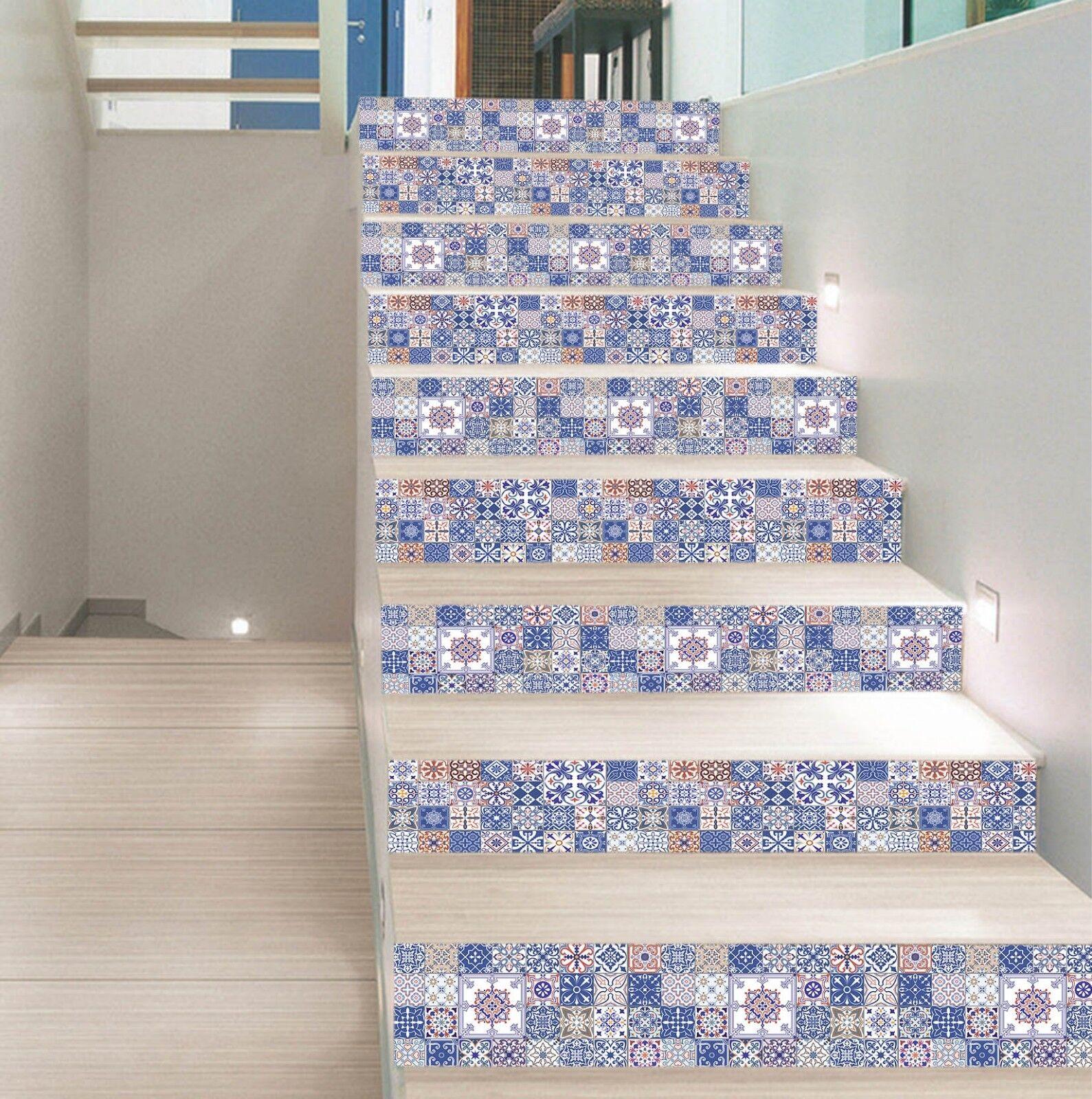 3D Blaume Muster 89 Fliese Marmor Stair Risers Fototapete Vinyl Aufkleber Tapete