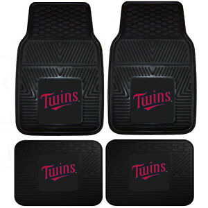 New-MLB-Minnesota-Twins-Front-Rear-Rubber-Heavy-duty-All-Weather-Floor-Mats