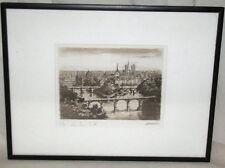 19th C. Ile de la Cite Engraving by Leauchi Pencil Signed Leauchi/Leauolu