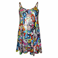 H6C NEW LADIES WOMENS COMIC BANG PRINT CAMI SLEEVELESS SWING DRESS TOP SM ML XL