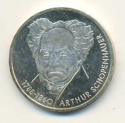 Silver Arthur Schopenhauer GERMANY 10 Mark 1988 D Proof