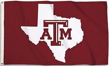 Texas A&M Aggies 3' x 5' Flag (Texas State Shape on Maroon) NCAA Licensed