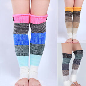 a2c249ebc15 Knee High Knit Leg Warmers Colorblock Retro Printed Holiday Costume ...