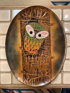 Vtg-Signed-Artist-Miguel-Pinada-Enamel-Owl-Tree-Plate-Tray-Wall-Art-MCM-Modern
