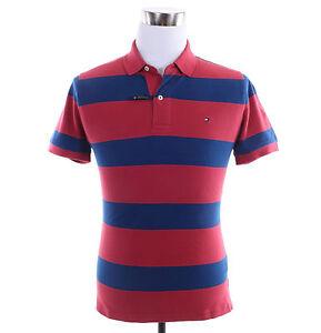 Tommy-Hilfiger-Men-Short-Sleeve-Stripe-Custom-Fit-Pique-Polo-Shirt-Free-0-Ship