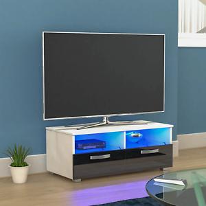 LED TV Unit Modern White & Black Stand Table Entertainment Cabinet 2 Drawer
