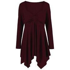 New Ladies Plus Size Sweetheart Neck Handkerchief Tunic T-Shirt 5XL Wine Red