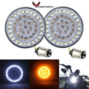 Eagle-Lights-Harley-Front-2-034-LED-Turn-Signals-Inserts-White-Amber-1157-HD-Bullet