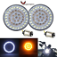 thumbnail 1 - Eagle-Lights-Harley-Front-2-034-LED-Turn-Signals-Inserts-White-Amber-1157-HD-Bullet