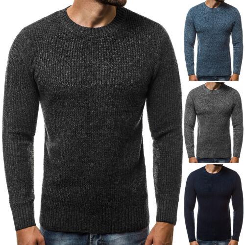 Pullover Strickpullover Sweater Basic Unifarben Langarmshirt OZONEE 1803 Herren