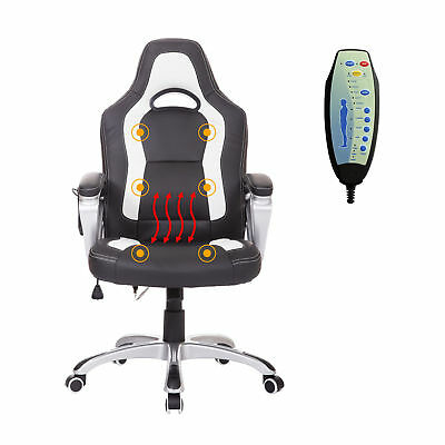 HOMCOM Race Car Style Faux Leather Heated Massage Office Chair w/ Remote Control
