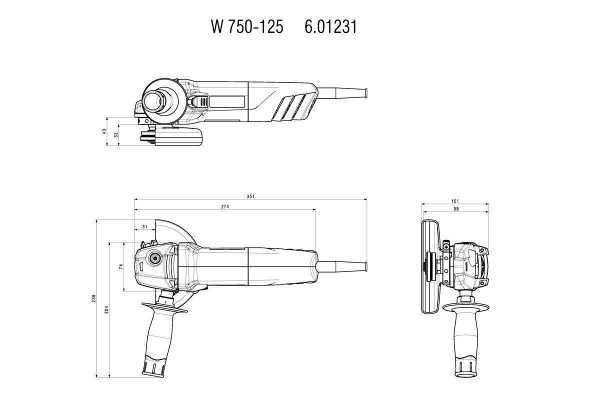 Metabo robust Winkelschleifer W 750 125 mm 750 W robust Metabo universell Wiederanlaufschutz 374ffc
