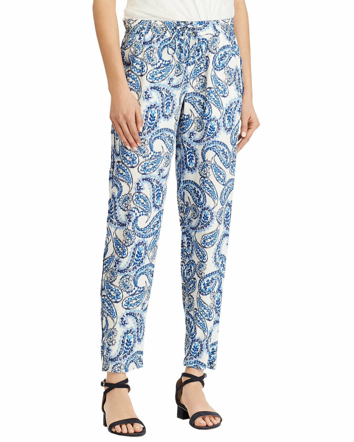 Lauren Ralph Lauren Ladies Twill Skinny Pants 8 bluee & White Paisley Lightweight